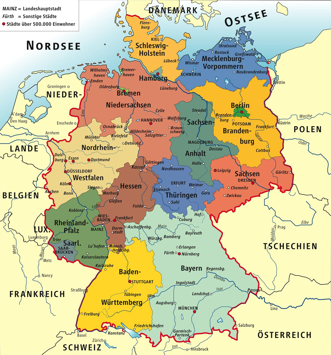 Allemagne carte des villes